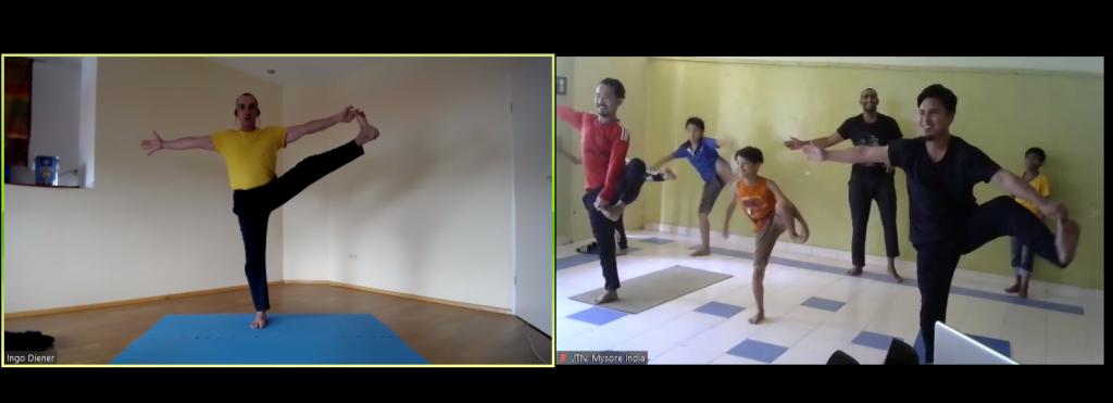 Jahresrückblick 2020: Livestream aus dem Yogastudio Wiesloch: Ingo unterrichtet Yoga für die Kinder in Indien