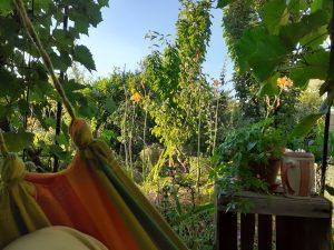 Relaxen in der Hängematte im Garten